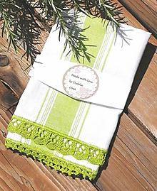 Úžitkový textil - Utierka s háčkovanou krajkou, zelená - 12057798_