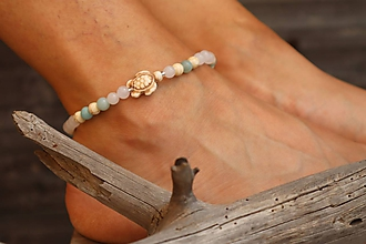 Náramky - Náramok na nohu s korytnačkou a minerálmi - 12057608_