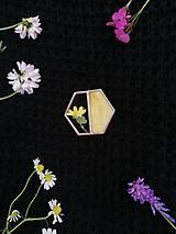Odznaky/Brošne - Brošňa Hexagon (s rastlinkami) (Žltá) - 12063562_