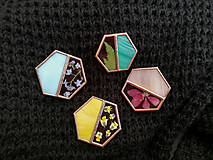 Odznaky/Brošne - Brošňa Hexagon (s rastlinkami) (Žltá) - 12063655_