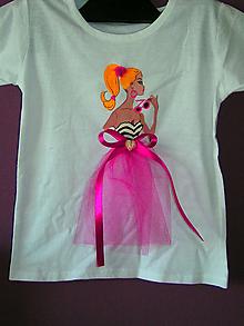 Detské oblečenie - Maľované tričko s tylom - 12060774_