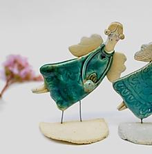 Svietidlá a sviečky - ZĽAVA  VÝPREDAJ 10,9 € z 13,9 anjel svietnik tyrkysový  (so zelenou ružou) - 12061294_