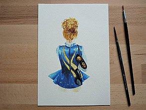 Obrazy - Írske tance 3, akvarel, art print, nástenná dekorácia do domu - 12061038_
