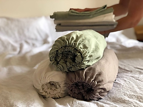 Úžitkový textil - Ľanové plachty s gumičkou - 12062513_
