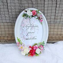 Obrázky - Rámik s poďakovaním pre učiteľku, romantický s ružičkami - 12066883_