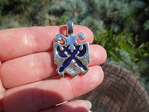 Šperky - pre rytierov-bojovníkov:,,erb,, (tmavomodrý ,,erb,,) - 12064792_