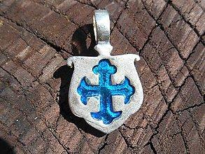 Šperky - cross stredovek amulet (cross blue) - 12064823_