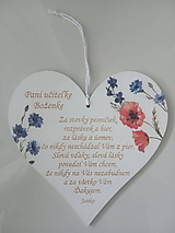 Dekorácie - Srdiečko pre pani učiteľku - 12067092_