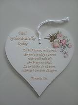 Dekorácie - Srdiečko pre pani učiteľku - 12067095_