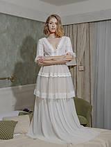 - Svadobné šaty v boho gypsy štýle s poschodovou tylovou sukňou - 12063989_