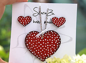 Sady šperkov - Heart dots Red // set - 12065582_