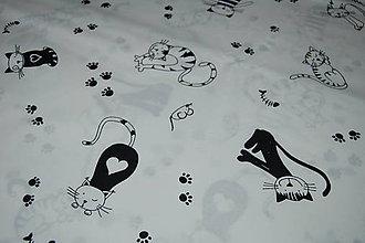 Textil - metráž mačky (Biela) - 12066038_