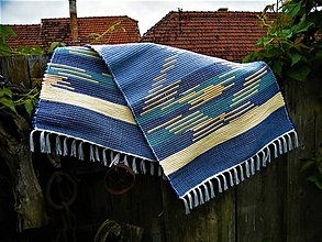 Úžitkový textil - Tkaný koberec tyrkysovo-modro-žltý - 12063838_