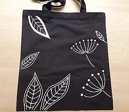 Nákupné tašky - sweet shopping/lístky na čiernej - 12070134_