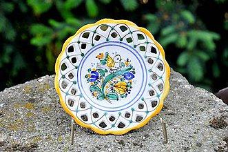 Nádoby - Habánsky tanierik s vtáčikom - 12068762_