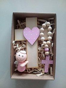 Dekorácie - Set krížik a ruženec a anjelik - 12070349_