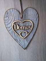 Dekorácie - Dekoračné srdce DOMOV - 12068742_