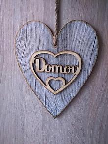 Dekorácie - Dekoračné srdce DOMOV - 12068741_