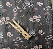 Textil - Blúzkovina šedá s kvietkami - 12068343_