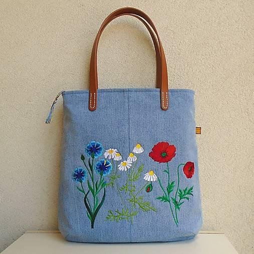 Džínsová recy taška na veľ. A4 svetlomodrá / lúčne kvety