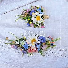 Ozdoby do vlasov - Súprava pre nevestu a ženícha lúčna, letná, pastelová - 12073507_