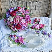Kytice pre nevestu - Svadobná sada fialovo-cyklámenová s ružami a pivonkou - 12073526_