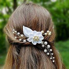 Ozdoby do vlasov - Svadobný hrebienok Perlový kvet - 12073799_