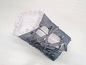Textil - Obliečka na zavinovačku s troma úväzmi sivý bavlnený satén + biela minky - 12074097_