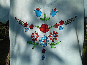 Tričká - KVIETKY maľované tričko - 12074592_