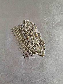 Ozdoby do vlasov - Svadobný hrebienok strieborný štrasový II. - 12070701_