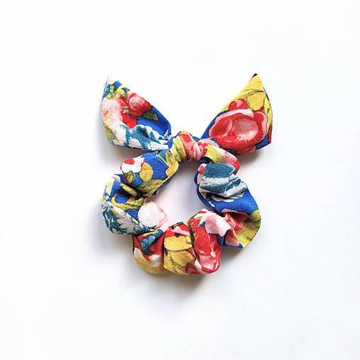 Recy-scrunchie modrá kvetinková