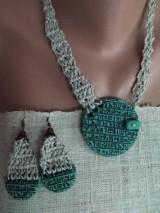 Sady šperkov - Zelený náhrdeľník a náušnice - 12074142_