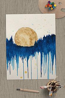 Obrazy - Kým les drieme, mesiac svieti - 12070766_