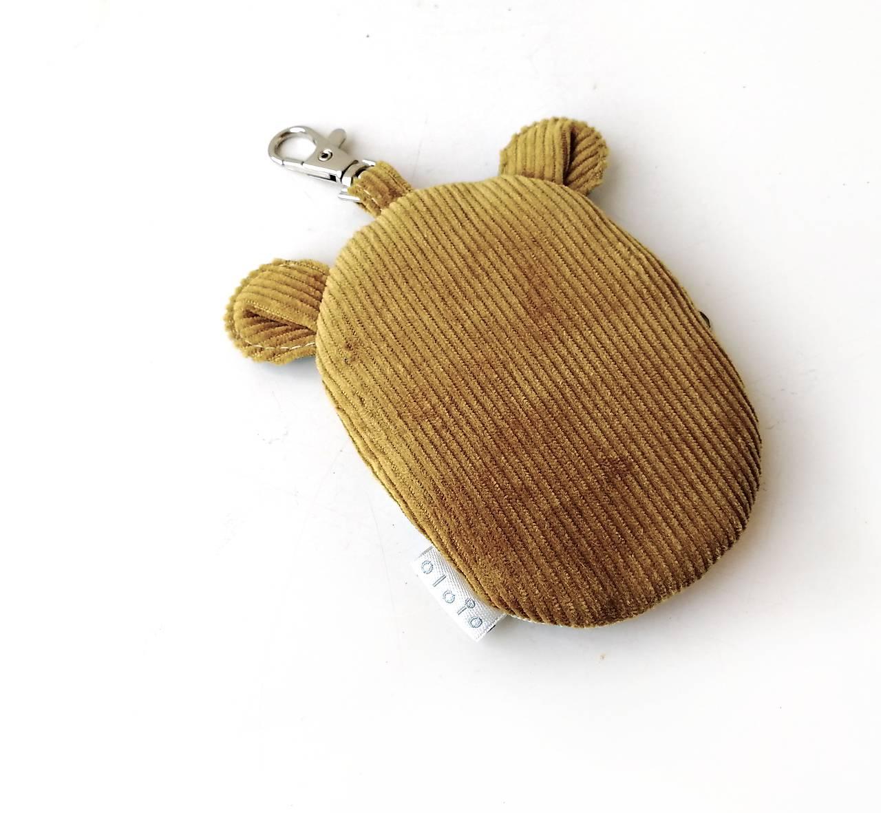 Kapsička na slúchadlá Zvieratko vyšívané okrové