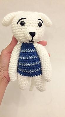Hračky - pes/psík  bielo-modrý Hačkovaná Hračka - 12074649_
