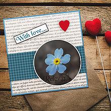 Papiernictvo - Pohľadnica With love (nezábudka) - 12074432_