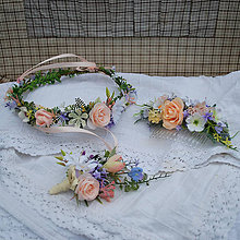 Ozdoby do vlasov - Súprava pre nevestu, ženícha a družičku, lúčna, letná, pastelová - 12076612_