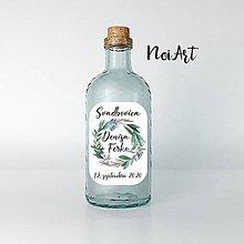 Papiernictvo - Nálepky na svadobné fľaše zelený venček 4 - 12076554_