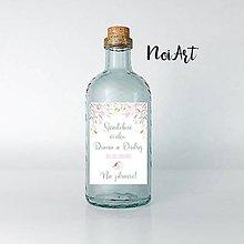 Papiernictvo - Nálepky na svadobné fľaše zelený kvietky 2 - 12076569_