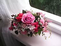 Dekorácie - Kvetinová dekorácia ...ružová... - 12077281_
