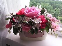 Dekorácie - Kvetinová dekorácia ...ružová... - 12077282_