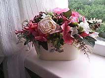 Dekorácie - Kvetinová dekorácia ...ružová... - 12077283_