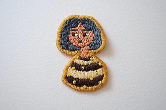 Iné doplnky - Nášivka dievča farebné vlasy (ručne vyšívaná) (Modrá) - 12075291_