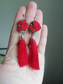 Náušnice - Červené kvetinové náušnice - 12076999_