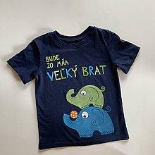 """Detské oblečenie - Maľované tričko s nápisom """"Bude zo mňa veľký brat"""" ( (TMAVOMODRÉ so sloníkmi) - 12076827_"""