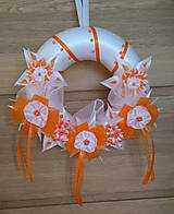 Dekorácie - Veniec oranžovo biely svadobný - 12077408_