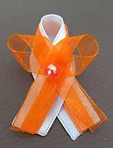 Pierka - Svadobné pierko oranžovo biele - 12077495_