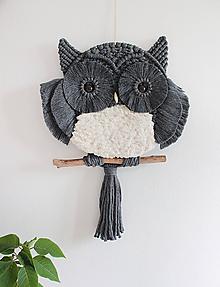 """Dekorácie - makramé sova """"myšiarka""""  (charcoal-tmavá šedá) - 12081029_"""