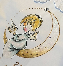 Detské oblečenie - košieľka na krst s anjelikom a mesiacom - modrá - 12078686_