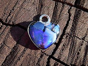 Náhrdelníky - little opals heart for happy time-striebro - 12079228_